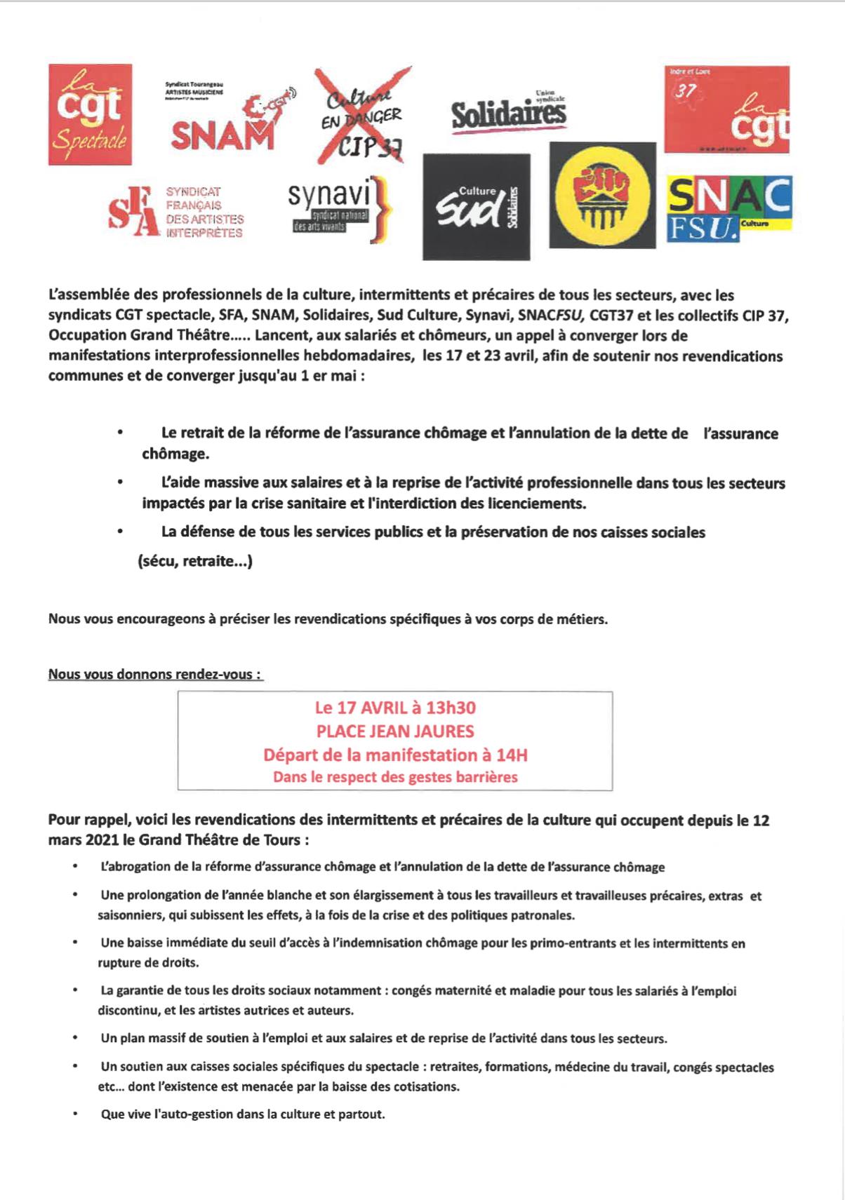 action du 17 et 23 avril 2021